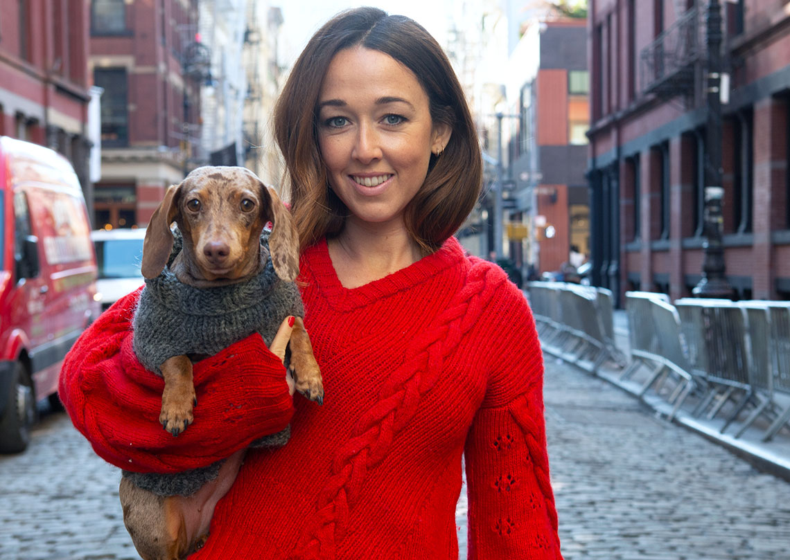 Portrait of New York Fashion Designer and her dog for editorial Alejandra Alonso Rojas