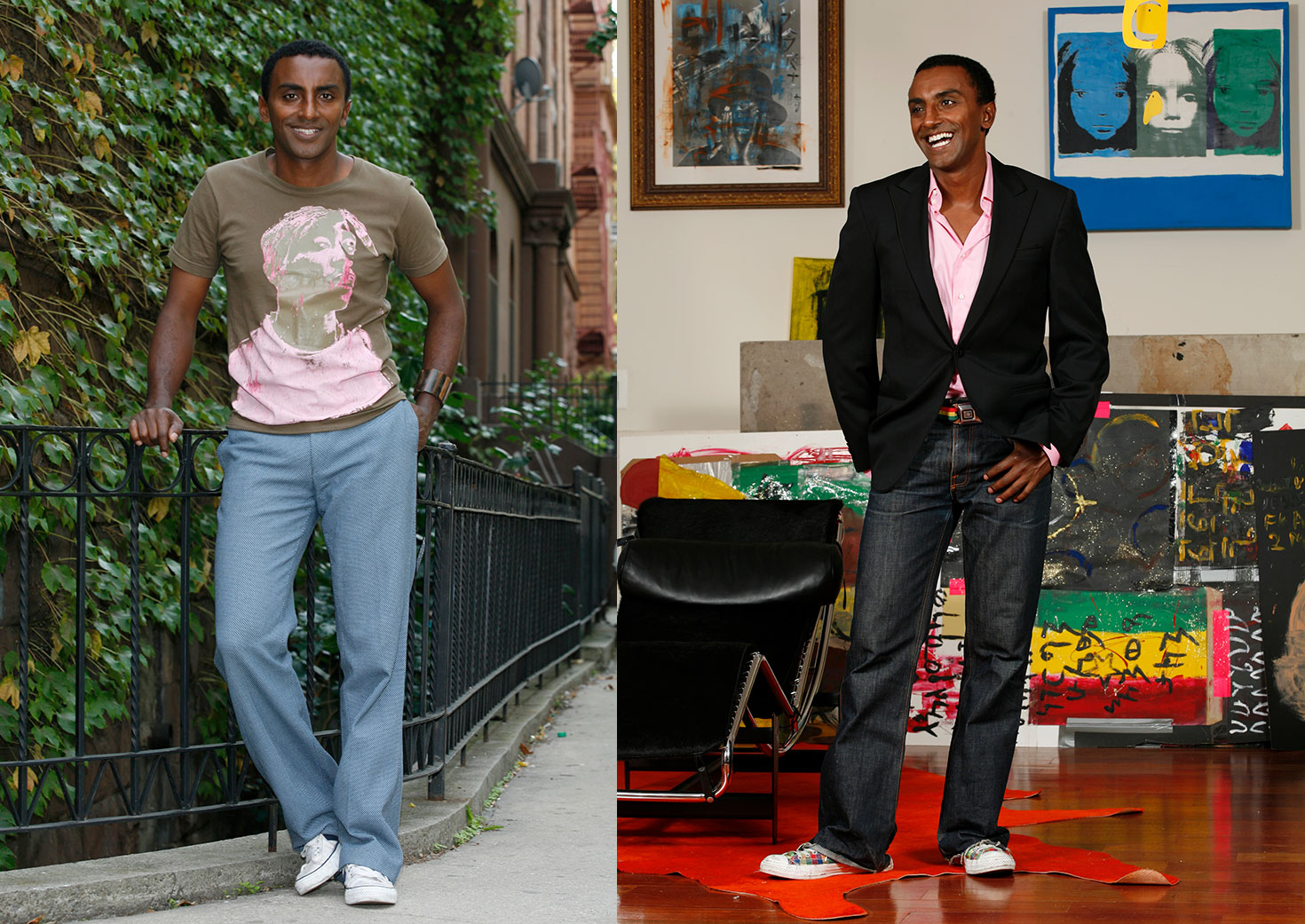 Portrait of celebrity chef Marcus Samuelsson for NY Times by Eric Hason